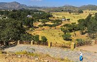 Hawzien Ebene bei der Kirche Abreha wa Atsbaha bei Wukro, Tigray, Äthiopien