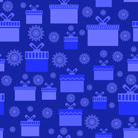 Blue Wrapping Christmas Seamless Paper with Different Boxes and Snowflakes