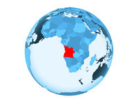 Angola on blue globe isolated