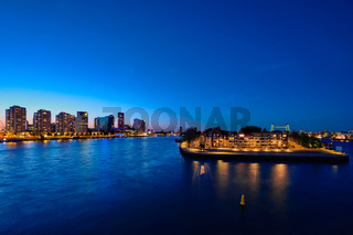 Rotterdam cityscape with Noordereiland at night,  Netherlands