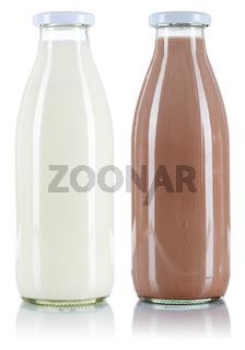 Milch und Kakao Flasche Milchflasche freigestellt Freisteller isoliert