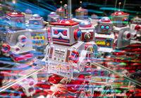 Roboter mit abstraktem Technologie Hintergrund