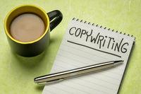 copywriting handwriting in notebook