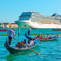 Gondolas and Cruise ship