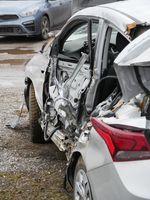 crashed Hyundai Solaris back view