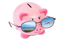 Rosa Sparschwein mit Sonnenbrille