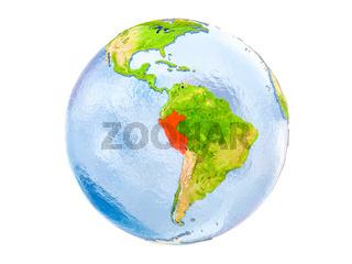 Peru on globe isolated