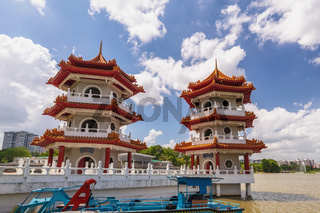 Singapore city skyline of twin pagoda at Chinese Garden