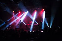 Crowd at concert and blurred stage lights .
