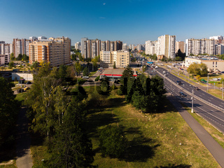 Moscow, Russia - September 20. 2018. view from above to Panfilovsky Prospect in Zelenograd