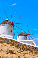 Old whitewashed windmills in Mykonos