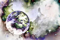 Abstract representation of the planet and galaxy of the Universe