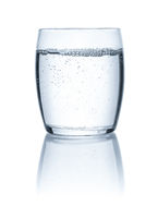Glass of water on a white backgound