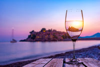 Wineglass and Sveti Stefan
