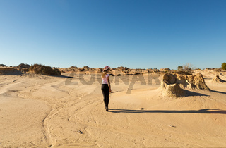 Woman in a desert landscape in outback Australia