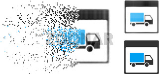 Moving Dot Halftone Shipment Truck Calendar Page Icon