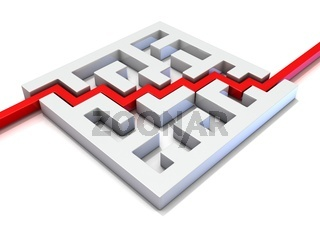 Red path going through labyrinth. 3D