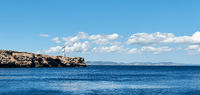 Rocky coastline of Formentera Island. Balearic Islands. Spain