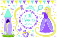 Cute little princess Rapunzel set objects. Collection design element with pretty girl, tower, butterfly, accessories. Kids baby clip art funny smiling character. Vector iillustration.