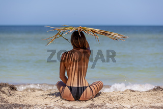Hispanic Brunette Model Enjoying A Sunny Day At The Beach