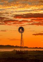 Windmill and misty morning across rural farmland fields