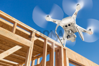 Drone Quadcopter Flying and Inspecting Construction Site