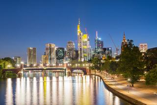 Illuminated Frankfurt skyline