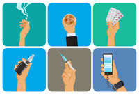 Set of bad habit, addiction icons, unhealthy lifestyle, smoking, alcohol, drugs, vape, gadget overuse, hand with cigarette, glass, syringe and cellphone, vector illustration in flat style.
