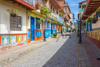 street of the historic center of Guatape on a sunny day