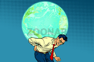 man carrying planet Earth