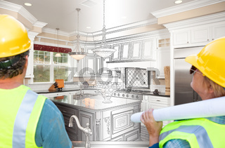 Male and Female Contractors Overlooking Kitchen Drawing Transition to Completed Project