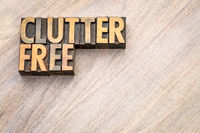 clutterfree - word abstract in vintage wood type