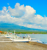 Fishing boats, Bali beach, Agung