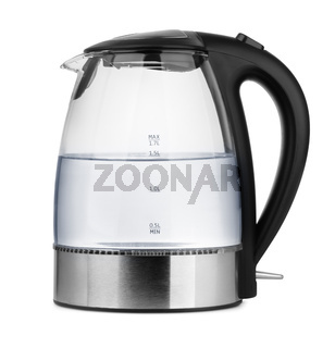 Glass electric kettle with  water