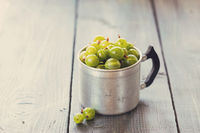 Green gooseberries in a aluminum cup