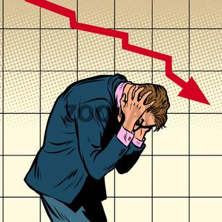 businessman panic falling chart
