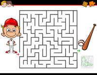 cartoon maze activity with boy and baseball