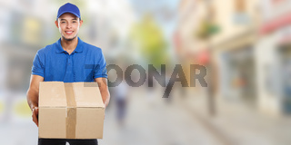 Parcel delivery service box package order delivering job young latin man town banner copyspace copy space
