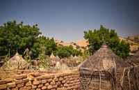 Lanscape with Mataya village of sara tribe people, Guera, Chad