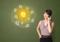 Person presenting new idea concept