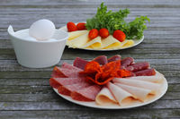 Breakfast with cold cuts and eggs