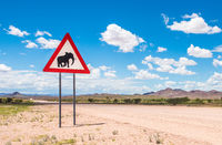 Elephants crossing road warning sign, Damaraland, Namibia