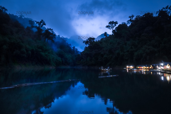 Floating village at night, Cheow Lan Lake, Khao Sok, Thailand