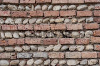 Muster abwechselnd mit Backsteinen und Flusssteinen - Hintergrund