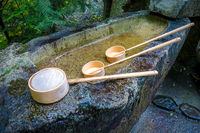 Purification fountain at a Shrine, Arashiyama, Kyoto, Japan