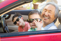 Chinese Granfather and Mixed Race Children Playing in Parked Car