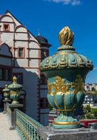Palais weilburg with round bowl in foreground