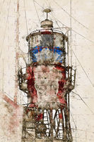 Digital artistic Sketch of a Lightship in Germany