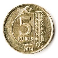 Old Turkish Coin on White Background, 5 Kurus, 2014