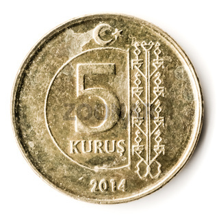 Old Turkish Coin on White Background, 5 Kurus, 2014